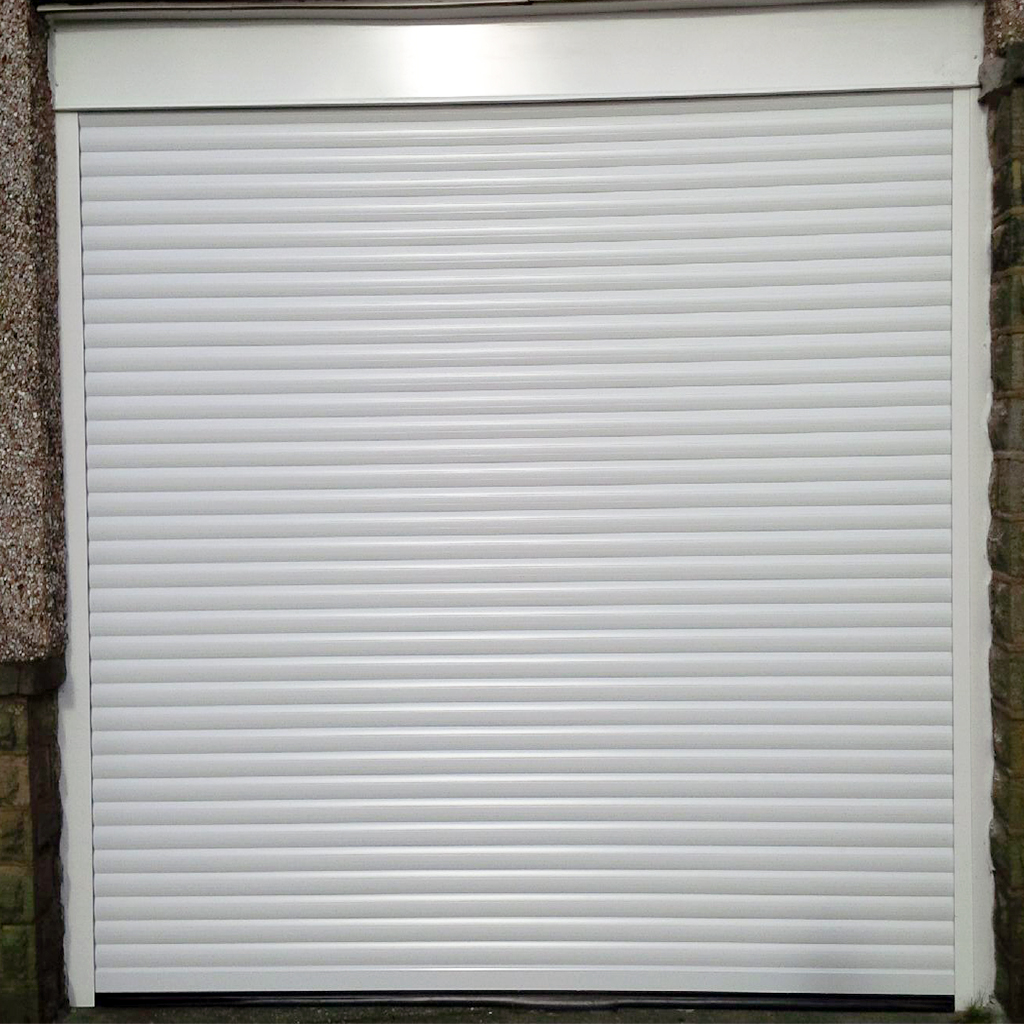 White Insulated Automated Roller Garage Door